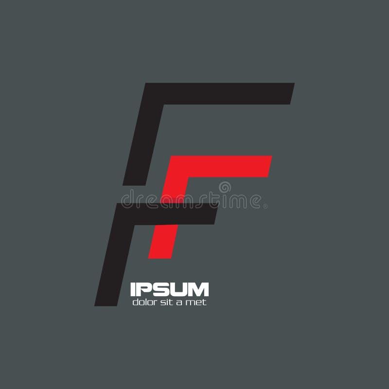 Logotipo preto e vermelho abstrato de F ilustração royalty free