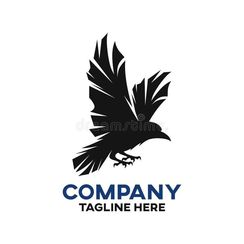 Logotipo preto moderno do corvo ilustração royalty free