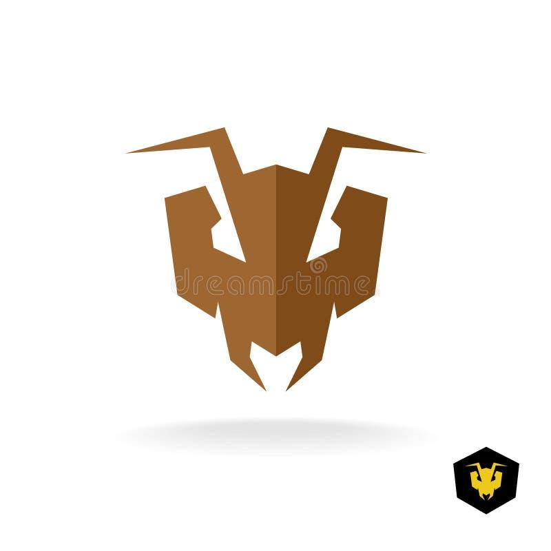 Logotipo principal de la hormiga Cara de la hormiga de dogo despredadora stock de ilustración