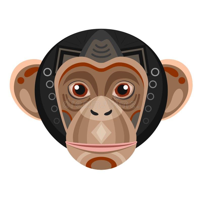 Logotipo principal del chimpancé Emblema decorativo del vector del mono ilustración del vector
