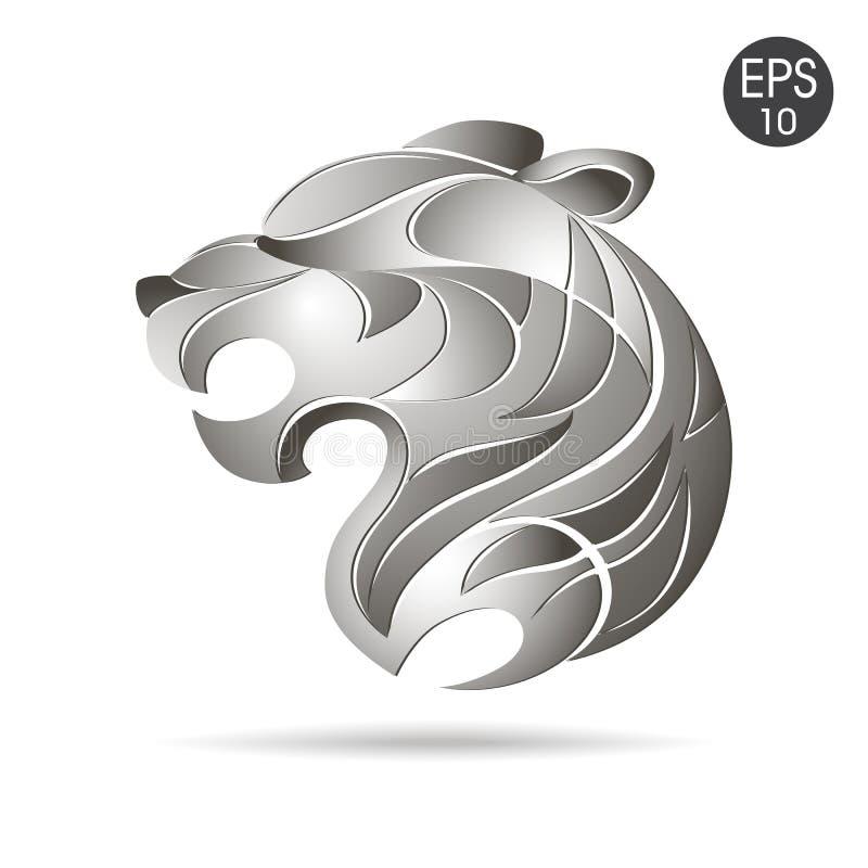 Logotipo principal del perfil del tigre Vector común stock de ilustración