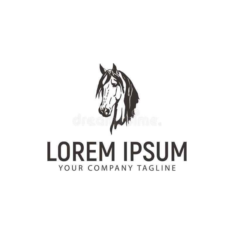 Logotipo principal do cavalo molde do conceito de projeto do vintage ilustração stock