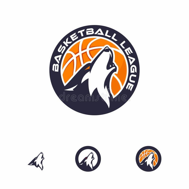 Logotipo principal do lobo para o basquetebol imagem de stock