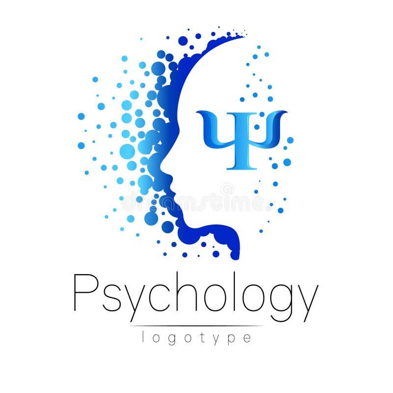Logotipo principal moderno da psicologia Ser humano do perfil ilustração stock