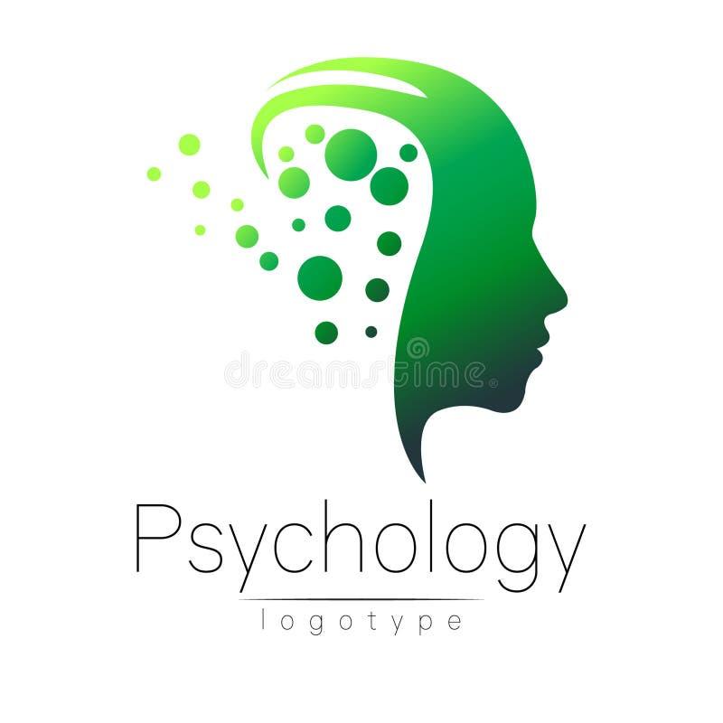 Logotipo principal moderno da psicologia Ser humano do perfil Estilo creativo ilustração do vetor