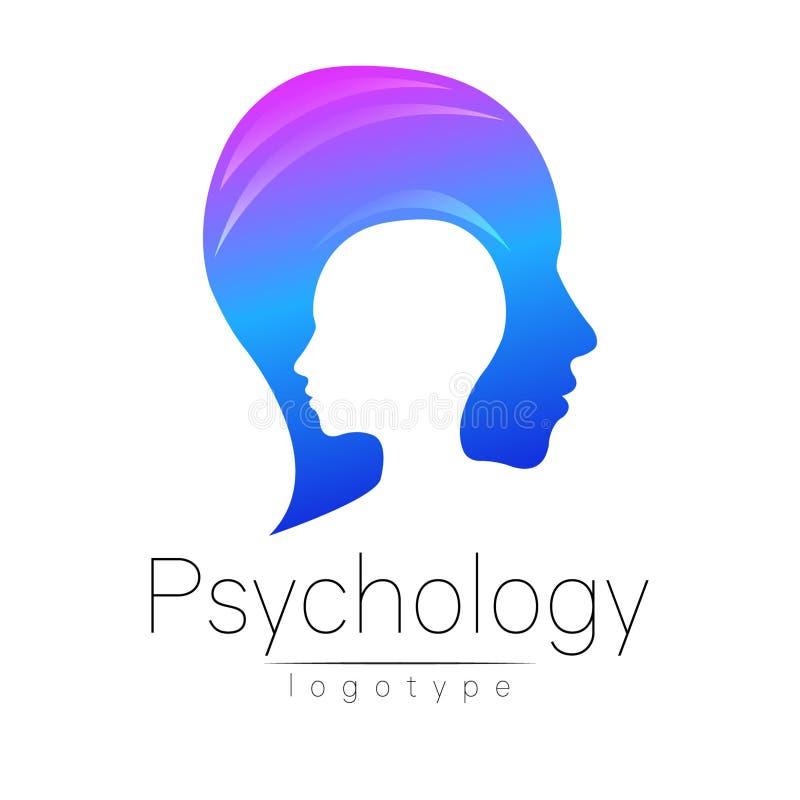 Logotipo principal moderno da psicologia Ser humano do perfil Estilo creativo ilustração royalty free