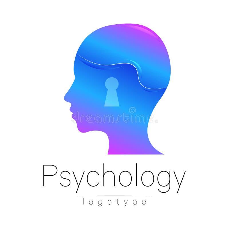 Logotipo principal moderno da psicologia Ser humano do perfil Estilo creativo ilustração stock
