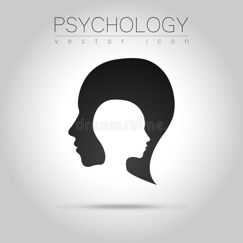 Logotipo principal moderno da psicologia Ser humano do perfil Estilo creativo Logotype no vetor ilustração royalty free