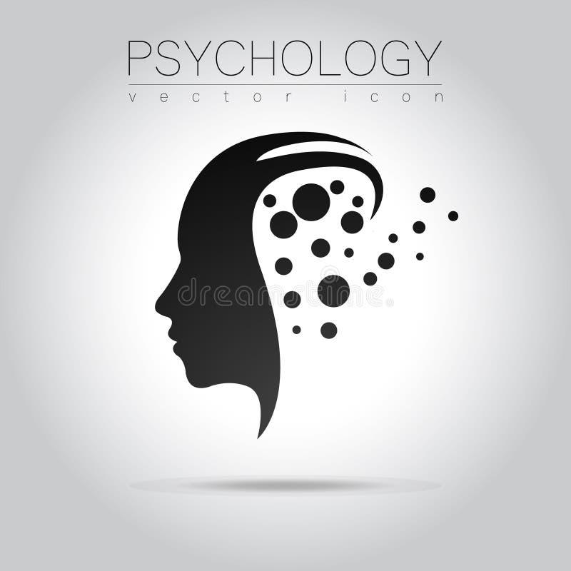 Logotipo principal moderno da psicologia Ser humano do perfil Estilo creativo Logotype no vetor ilustração do vetor