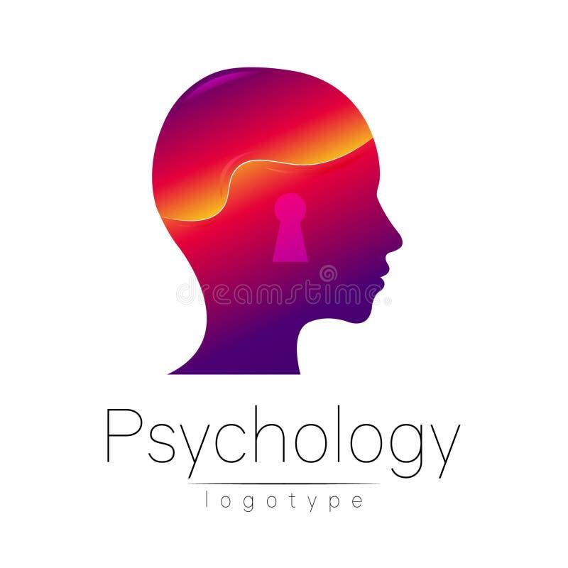 Logotipo principal moderno da psicologia Ser humano do perfil Estilo creativo Logotype no vetor Conceito de projeto Empresa do ti ilustração do vetor