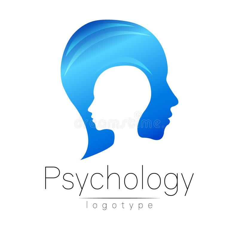 Logotipo principal moderno da psicologia Ser humano do perfil Estilo creativo Logotype no vetor Conceito de projeto Empresa do ti ilustração royalty free