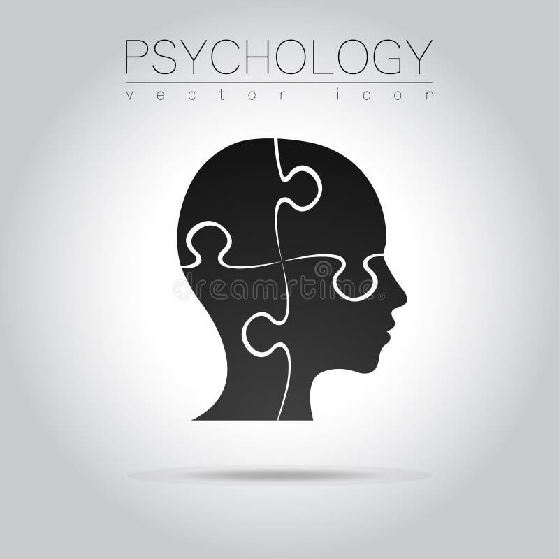 Logotipo principal moderno do enigma da psicologia Ser humano do perfil Estilo creativo Logotype no vetor ilustração do vetor