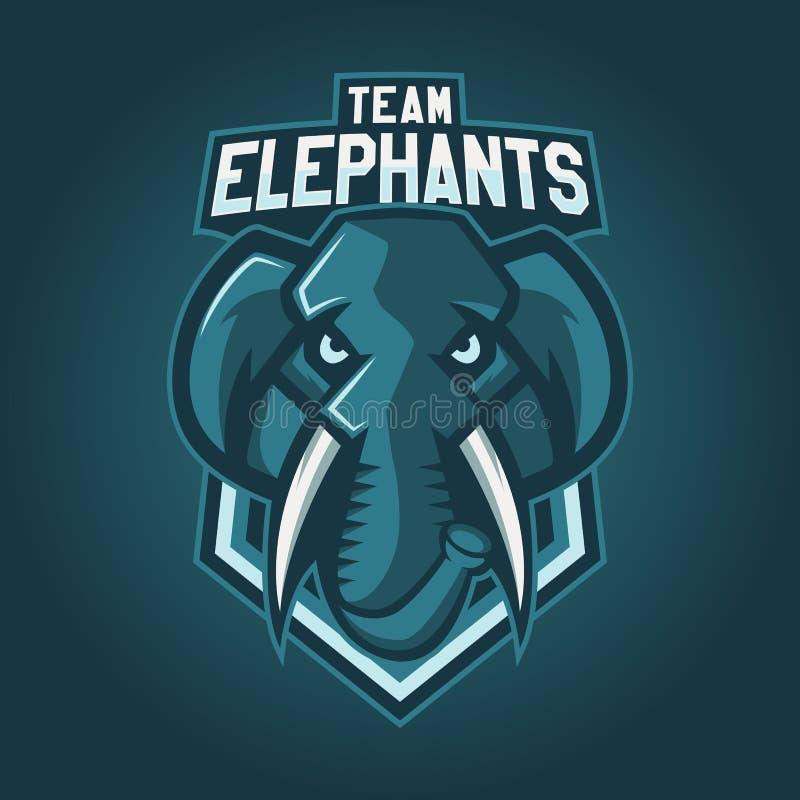 Logotipo profesional moderno para el equipo de deporte Mascota del elefante Elefantes, símbolo del vector en un fondo oscuro ilustración del vector