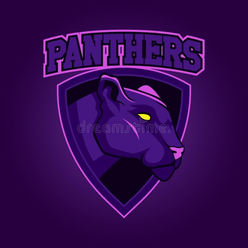 Logotipo profesional moderno para el equipo de deporte Mascota de la pantera Panteras, símbolo del vector en un fondo oscuro ilustración del vector