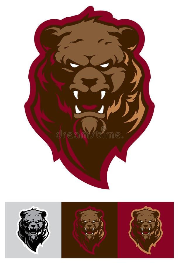 Logotipo profissional moderno com urso pardo para uma equipe de esporte ilustração stock