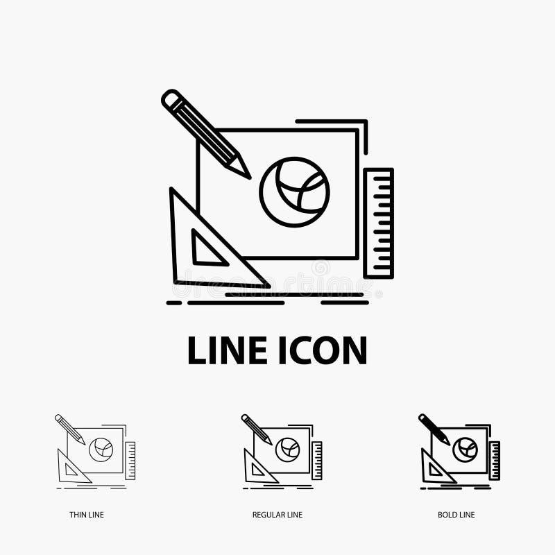 logotipo, projeto, criativo, ideia, ícone do processo de projeto na linha estilo fina, regular e corajosa Ilustra??o do vetor ilustração royalty free