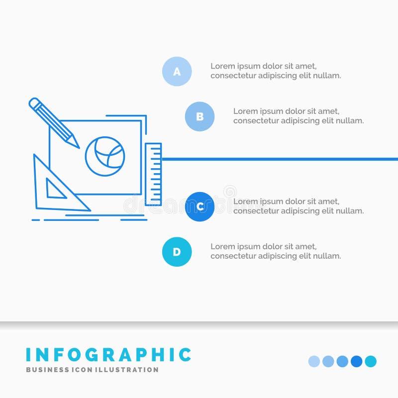 logotipo, projeto, criativo, ideia, molde de Infographics do processo de projeto para o Web site e apresenta??o Linha estilo info ilustração do vetor