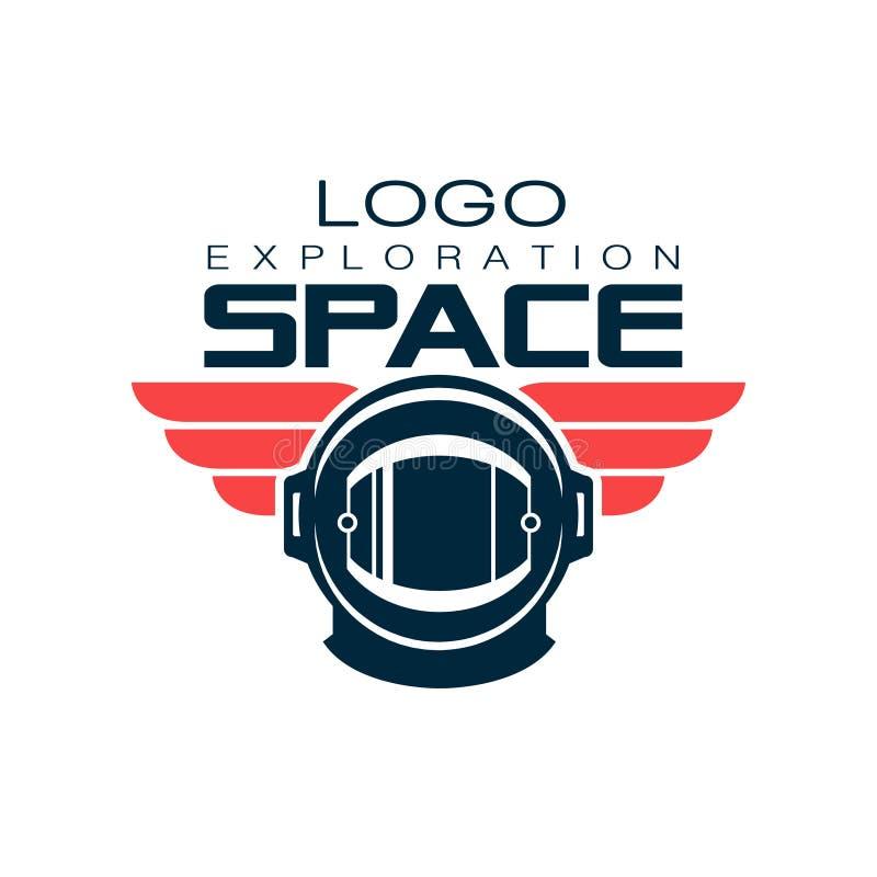 Logotipo protector del casco del ` s del astronauta Exploración espacial Viaje cósmico Etiqueta creativa en estilo plano Diseño d stock de ilustración