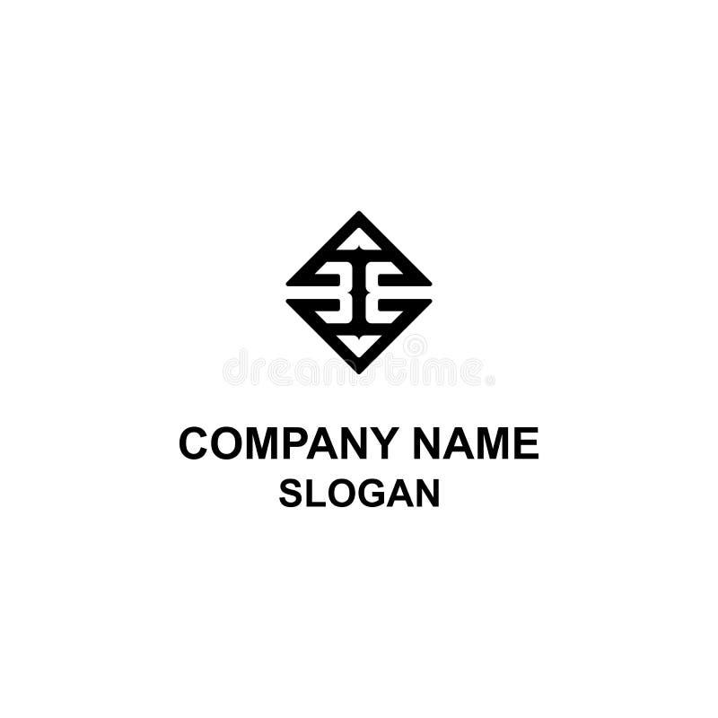 logotipo quadrado da inicial da letra 3E ilustração do vetor