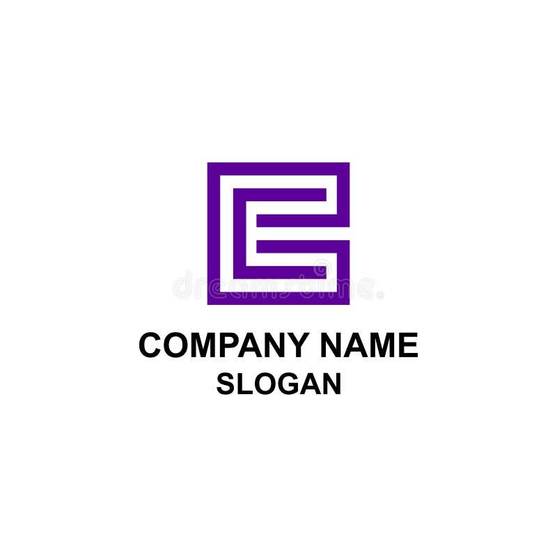 Logotipo quadrado da letra inicial do EC ilustração royalty free