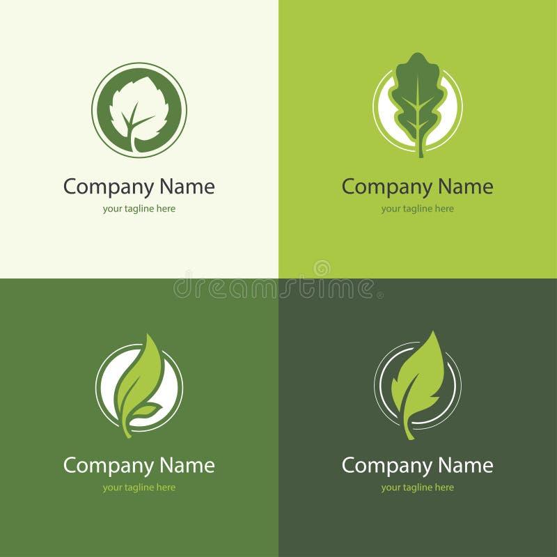 Logotipo quatro com folhas em uma forma do círculo ilustração stock
