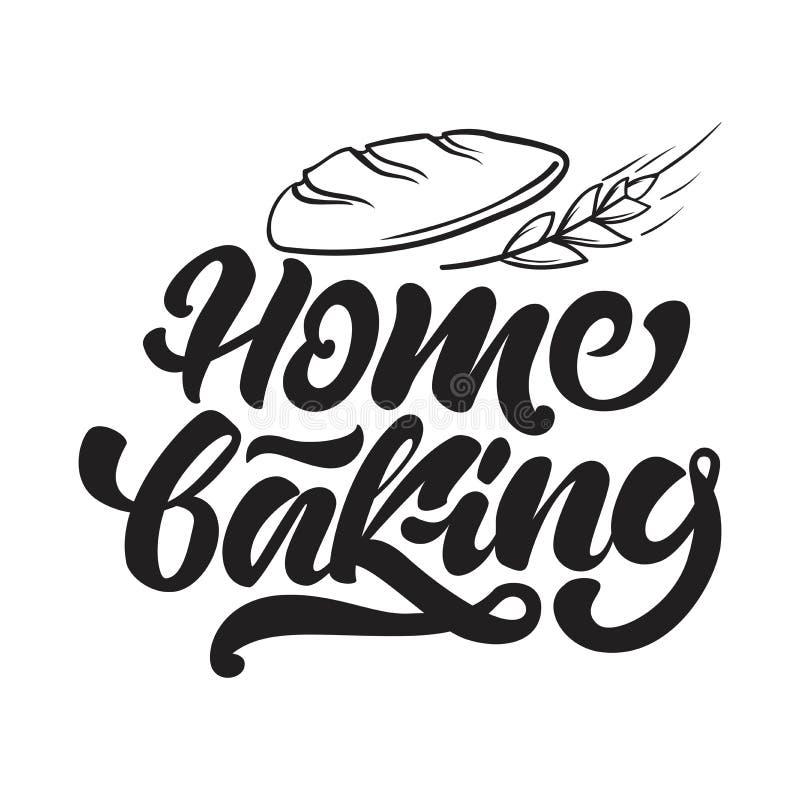 Logotipo que cuece casero en poner letras a estilo con pan y cereales Ilustraci?n del vector libre illustration