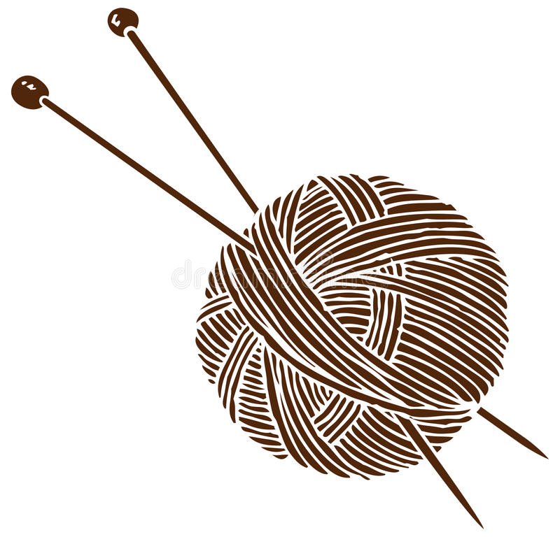 Logotipo que hace punto Bola y agujas ilustración del vector