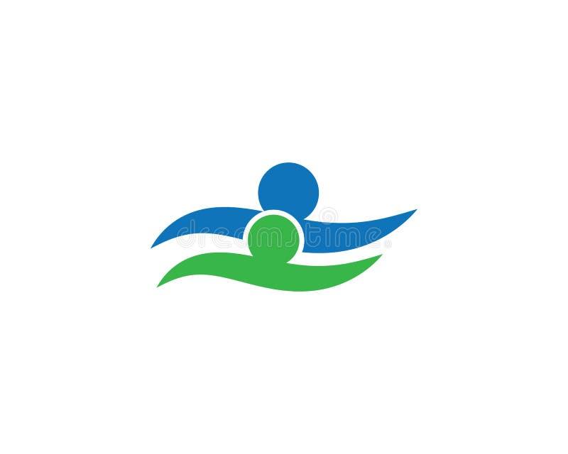 Logotipo que nada de la gente sana de la vida stock de ilustración