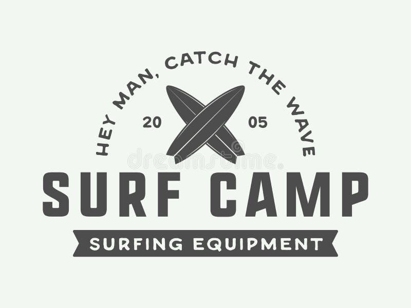 Logotipo que practica surf del vintage, emblema, insignia, etiqueta, marca libre illustration