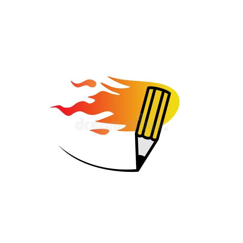 Logotipo rápido del lápiz del fuego stock de ilustración