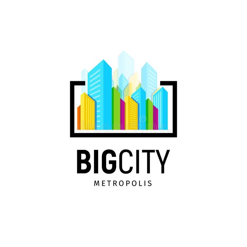 Logotipo real colorido isolado da agência imobiliária, logotype da casa no branco, ícone home do conceito, arranha-céus, vetor gr ilustração stock