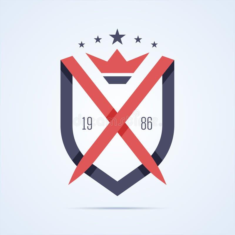 Logotipo real de la protección con dos espada y corona ilustración del vector