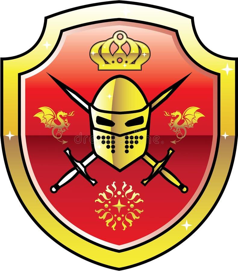 Logotipo real do cavaleiro da brasão no protetor com vetor dourado das espadas ilustração do vetor