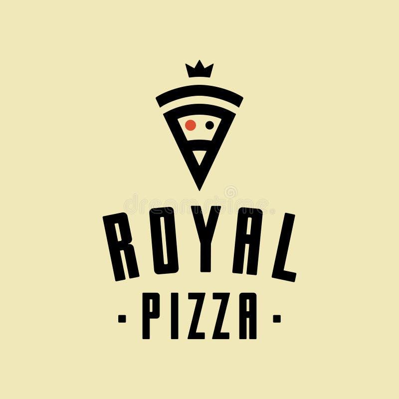 Logotipo real do estilo do minimalismo do vetor da pizza, ícone, emblema, sinal ilustração royalty free