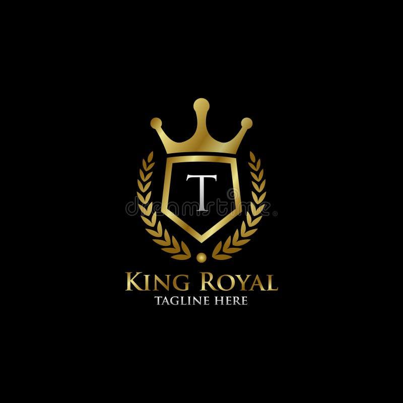Logotipo real do protetor luxuoso inicial de T ilustração do vetor