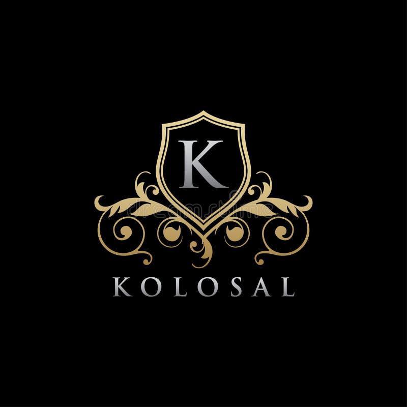 Logotipo real elegante da letra da coroa K do ouro ilustração stock