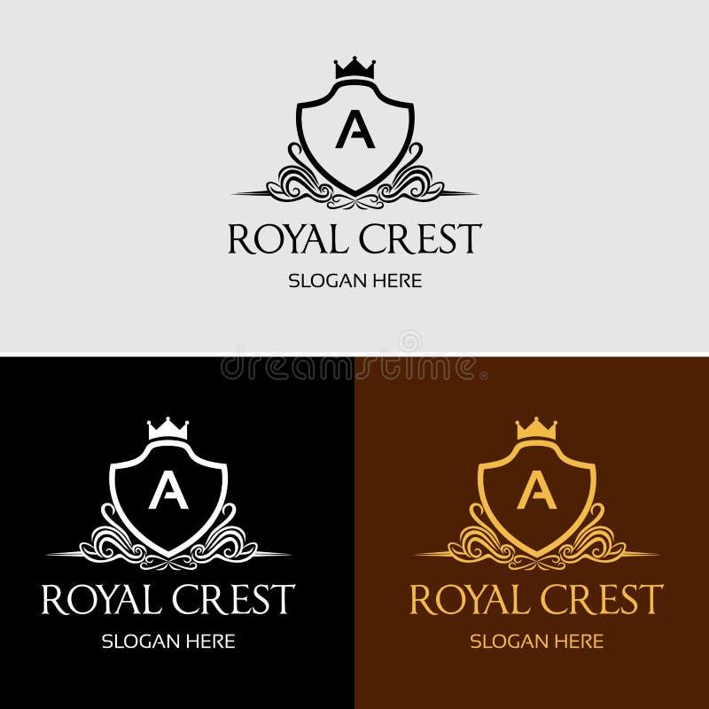 Logotipo real heráldico do vetor da crista fotografia de stock royalty free