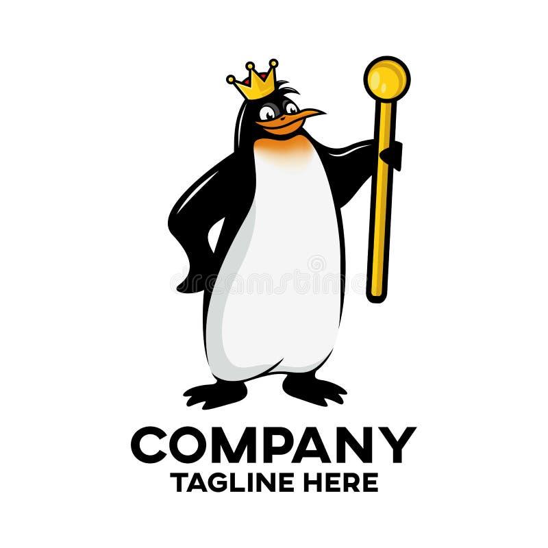 Logotipo real moderno da mascote do pinguim ilustração royalty free