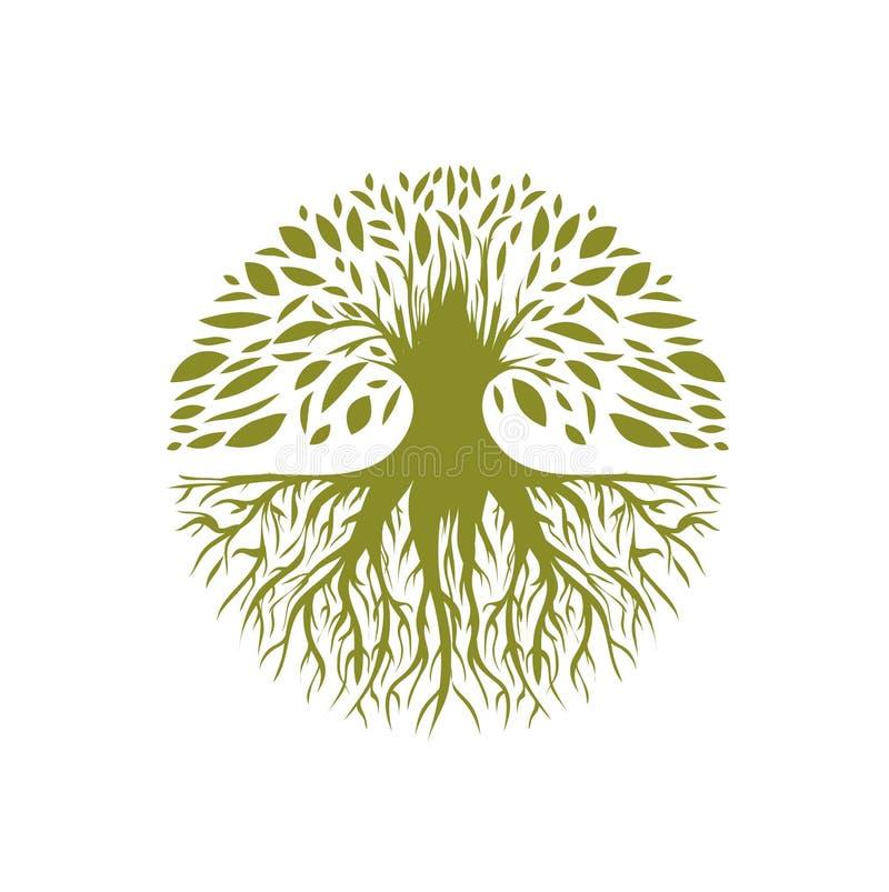 Logotipo redondo abstrato da árvore ilustração stock
