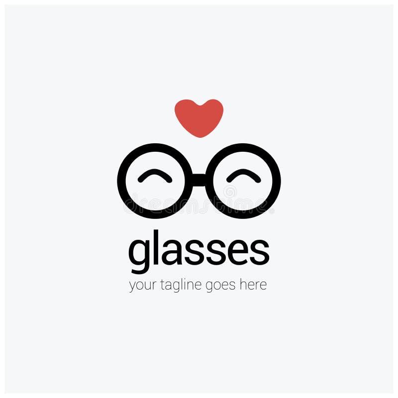 Logotipo redondo com um coração, amor dos vidros do olho, isolado no fundo ilustração do vetor