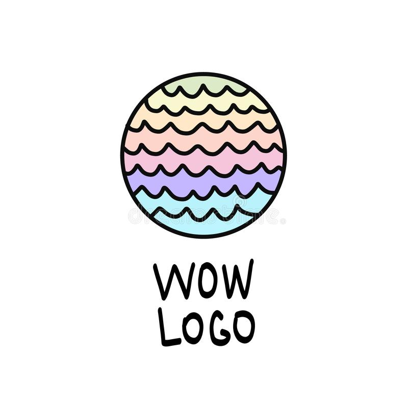 Logotipo redondo con las ondas, colores de neón en colores pastel del espectro, modelo rayado colorido del arco iris Ilustración  stock de ilustración