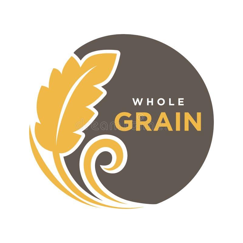 Logotipo redondo da grão inteira com as orelhas do símbolo do trigo isoladas no branco ilustração do vetor