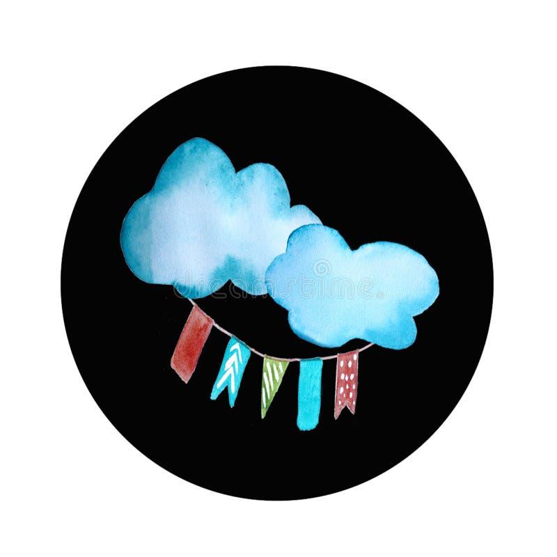 Logotipo redondo da nuvem ilustração royalty free