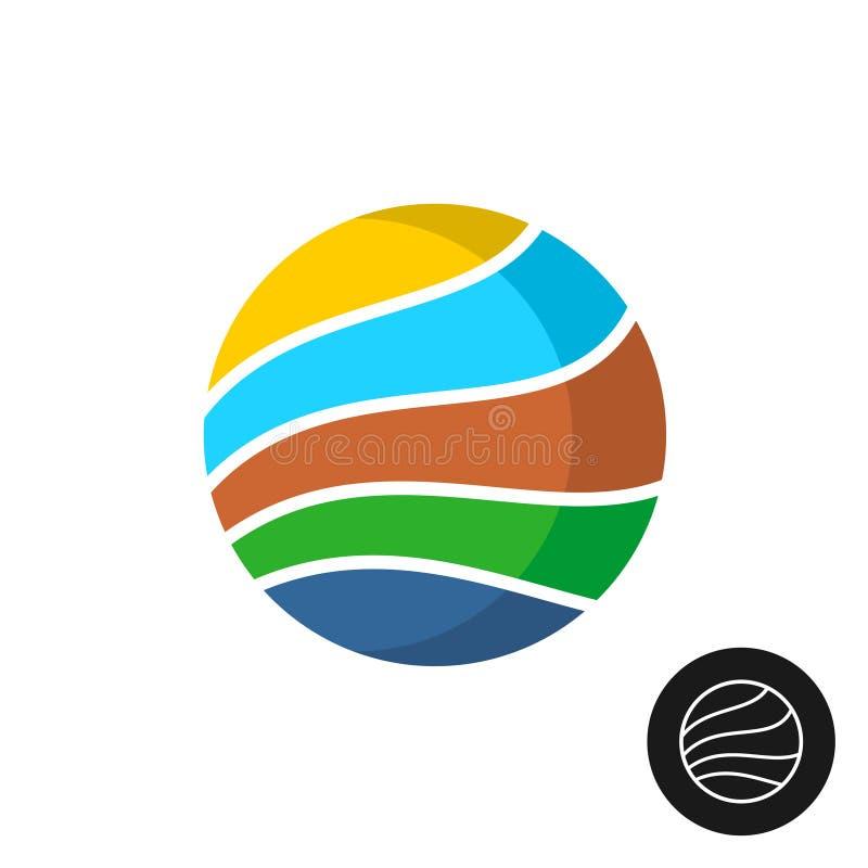 Logotipo redondo de la insignia del tema del viaje stock de ilustración