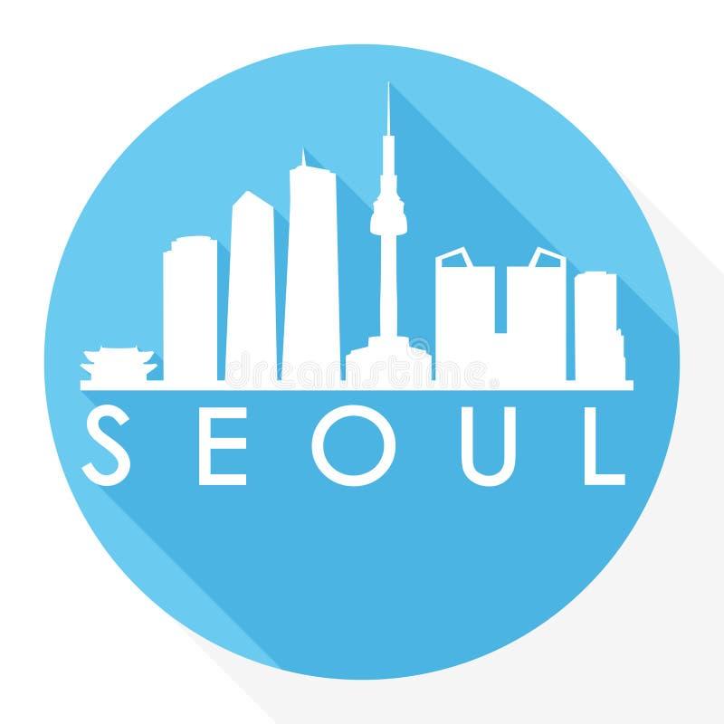 Logotipo redondo de la plantilla de la silueta de la ciudad de Art Flat Shadow Design Skyline del vector del icono de Asia de la  stock de ilustración
