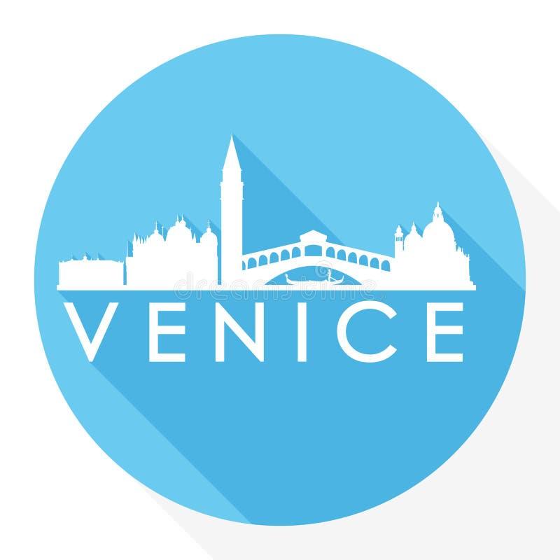 Logotipo redondo de la plantilla de la silueta de la ciudad de Art Flat Shadow Design Skyline del vector del icono de Venecia Ita ilustración del vector