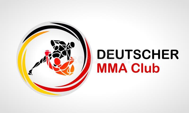 Logotipo redondo del equipo de los combatientes locales del Muttahida Majlis-E-Amal Texto de la muestra del icono del boxeo ilustración del vector