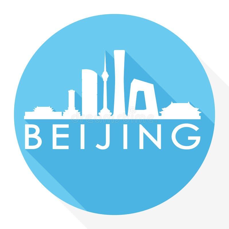 Logotipo redondo do molde da silhueta da cidade de Art Flat Shadow Design Skyline do vetor do ícone de China Ásia do Pequim ilustração do vetor
