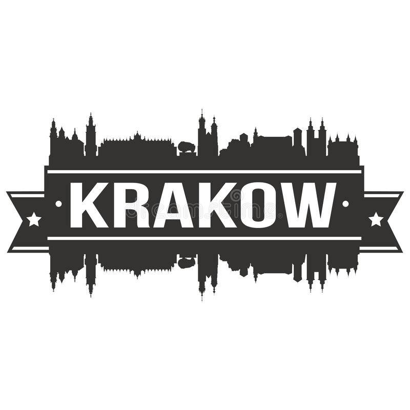 Logotipo redondo do molde da silhueta da cidade de Art Flat Shadow Design Skyline do vetor do ícone do Polônia de Krakow ilustração do vetor