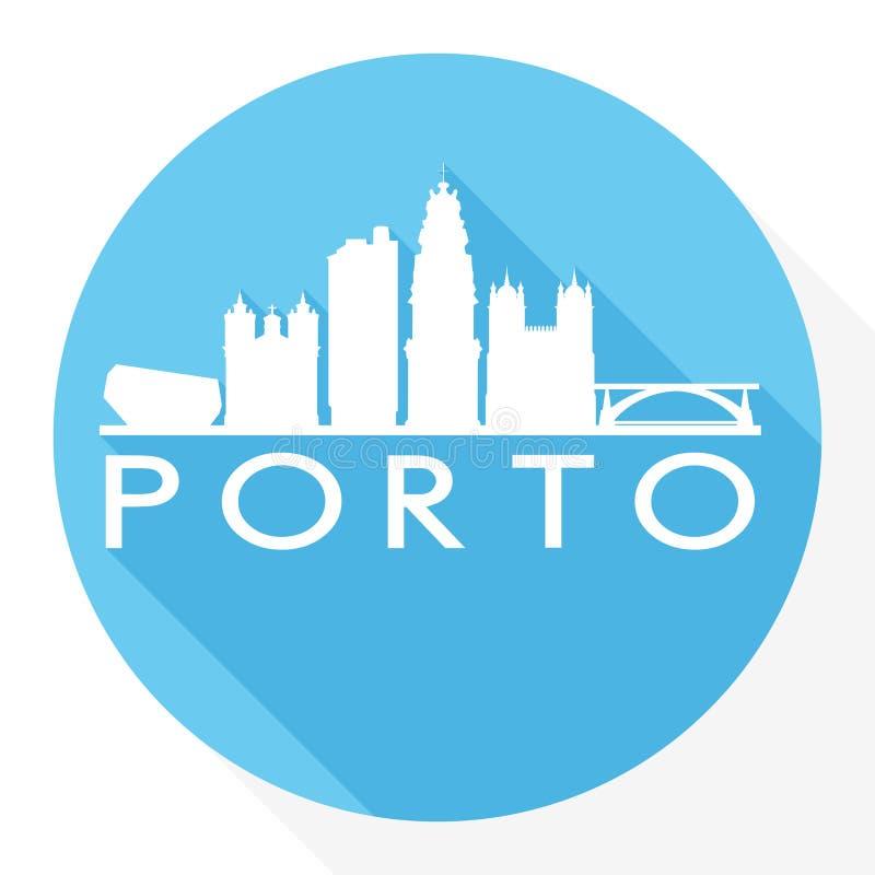 Logotipo redondo do molde da silhueta da cidade de Art Flat Shadow Design Skyline do vetor do ícone de Porto Portugal ilustração do vetor